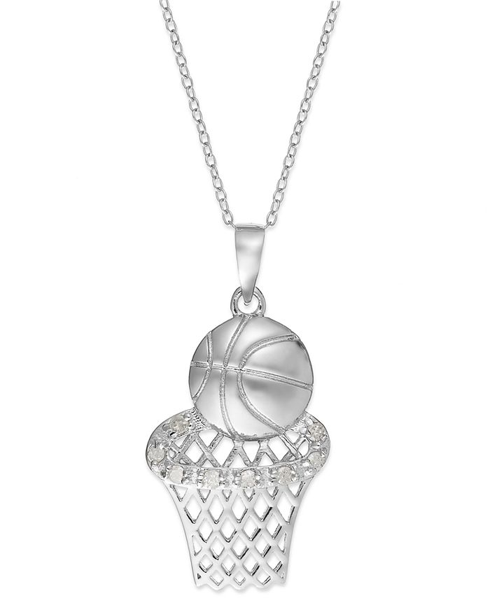 Macy's - Diamond Basketball and Hoop Pendant Necklace in Sterling Silver (1/10 ct. t.w.)