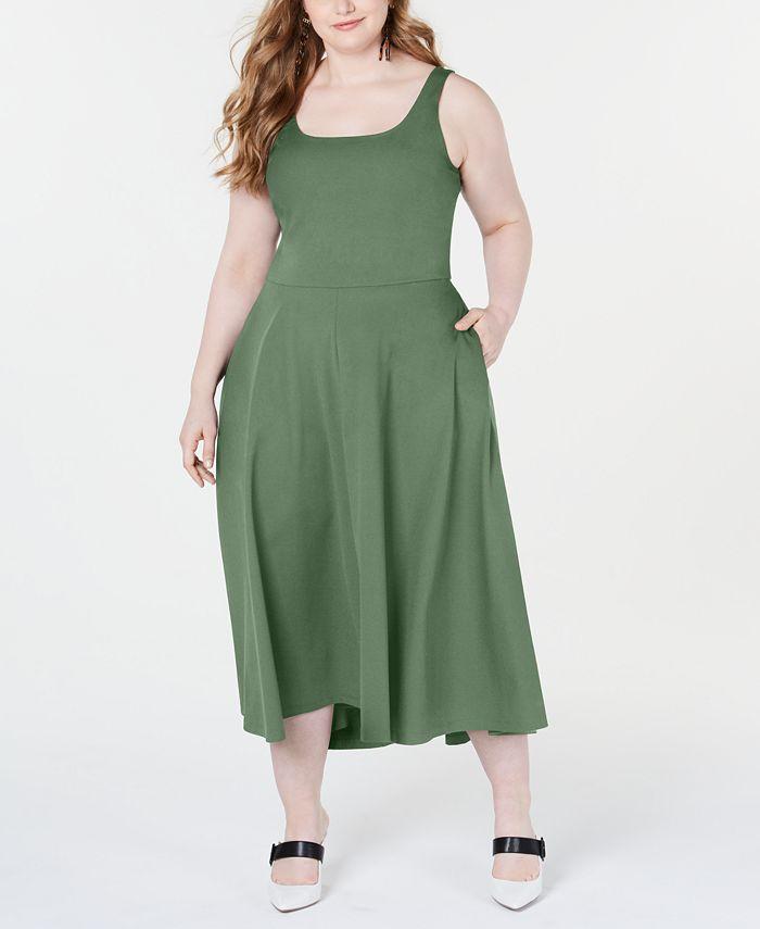 Alfani - Plus Size Sleeveless Fit & Flare Midi Dress