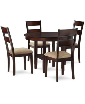 Prescot Dining Room Furniture 5 Piece Set Round Table And 4 Panel Back Chai