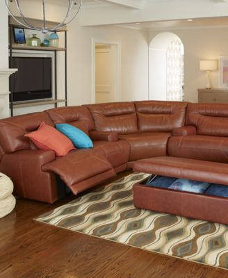 Ricardo Leather 3-Piece Power Reclining Sectional Sofa ...