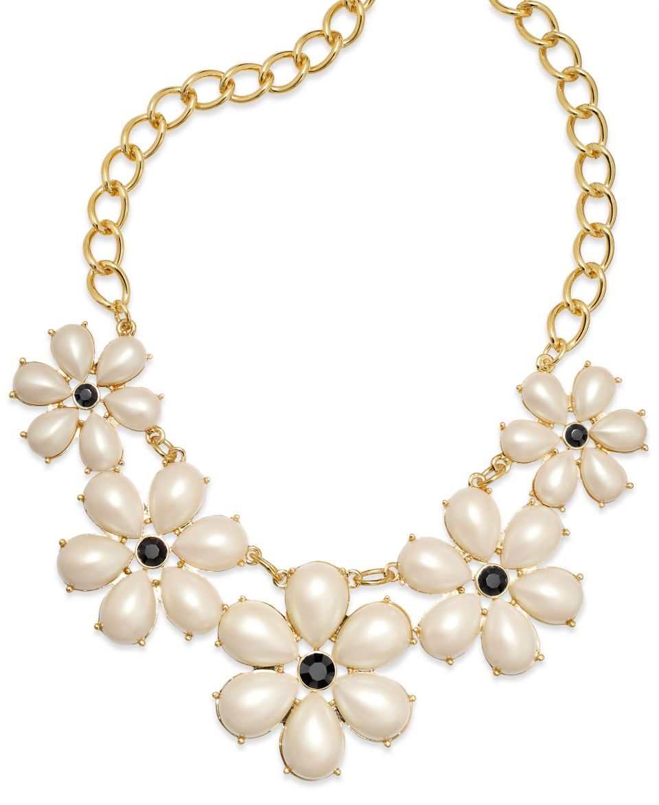 Kate Spade New York Gold Tone Crystal Chain Short Collar Necklace   Fashion Jewelry   Jewelry & Watches