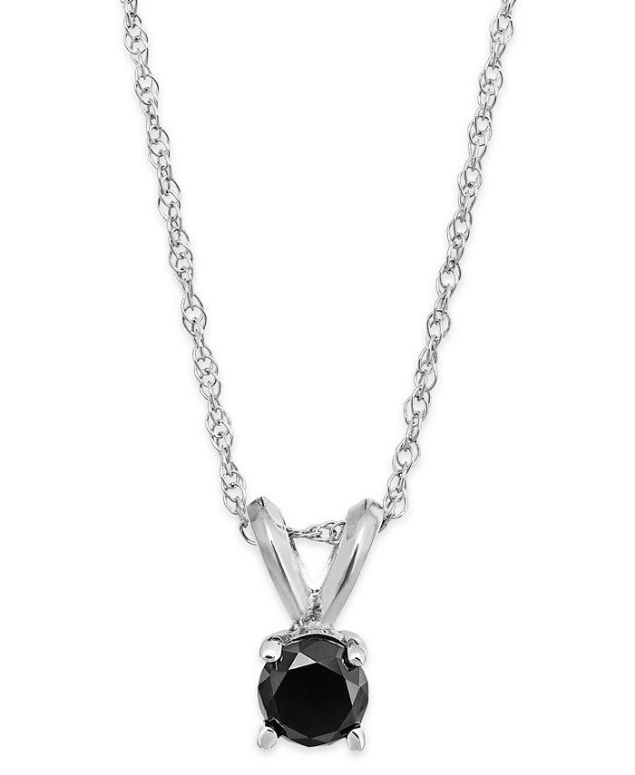 Macy's - Black Diamond Round Pendant Necklace in 10k White Gold (1/6 ct. t.w.)
