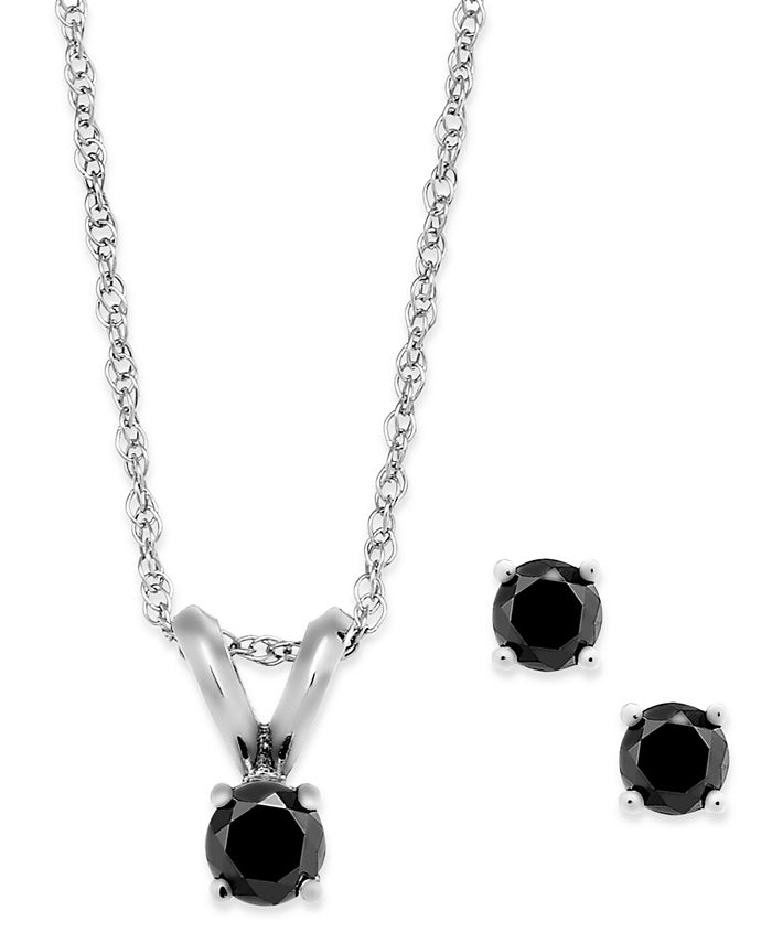 Macy's - Black Diamond Jewelry Set in 10k White Gold (1/6 ct. t.w.)