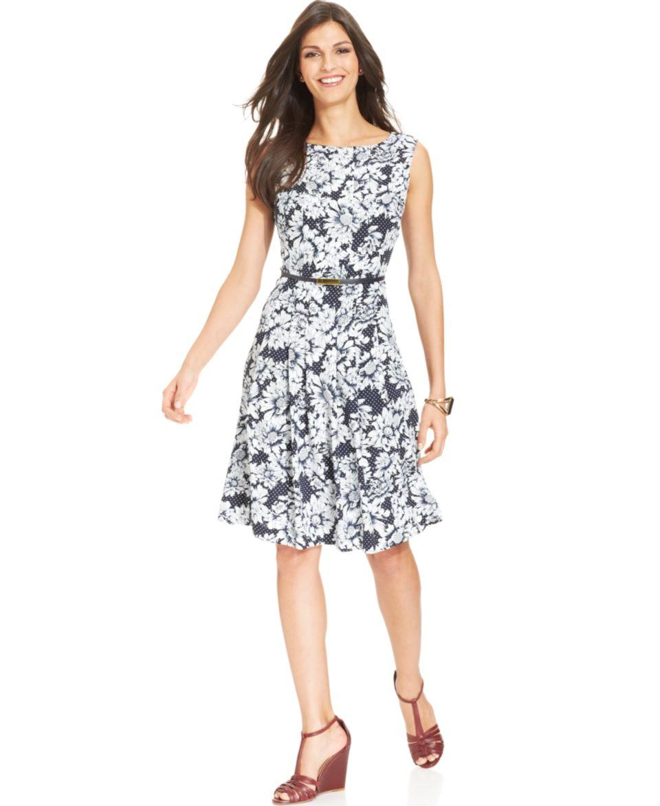 Jones New York Sleeveless Floral Print Belted Midi Dress   Dresses   Women