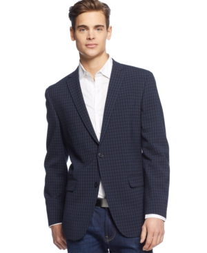 Bar Iii Navy Tonal Seersucker Check Sport Coat Slim Fit $ 295.00