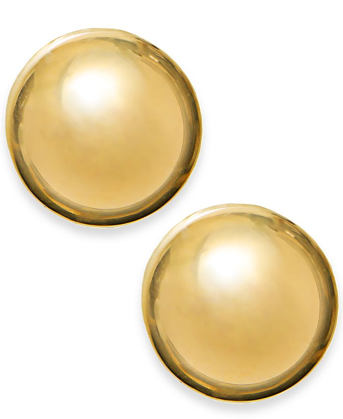 Macy's - 14k Gold Earrings, 12mm Domed Stud Earrings