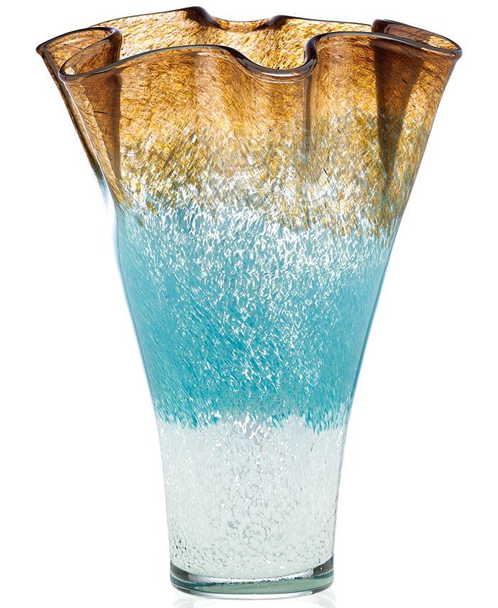 "Lenox - Seaview Ombre 12"" Centerpiece Ruffle Vase"