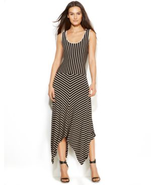 Calvin Klein Sleeveless Striped Handkerchief-Hem Dress