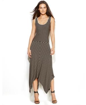 Calvin Klein Sleeveless Striped Handkerchief-Hem Dress