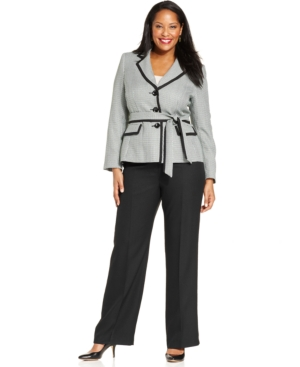 Le Suit Plus Size Belted Jacket Pantsuit