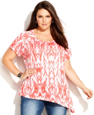 INC International Concepts Plus Size Short-Sleeve Ikat-Print Top