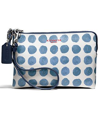 COACH BLEECKER SMALL WRISTLET IN PAINTED DOT COATED CANVAS