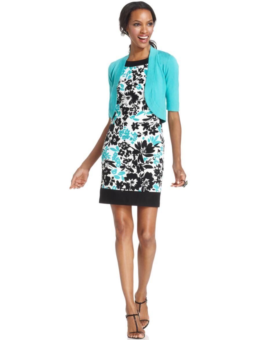 Ronni Nicole Sleeveless Floral Print Dress and Cardigan   Dresses   Women