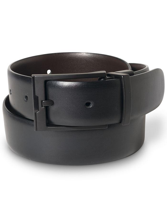 Perry Ellis Portfolio - Matte Black Buckle Leather Belt