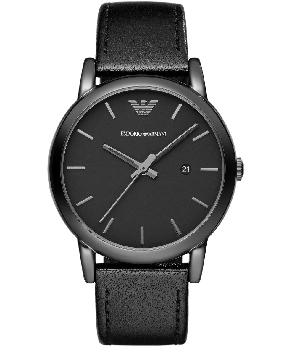 Emporio Armani Mens Black Leather Strap Watch 41mm AR1732   Watches   Jewelry & Watches