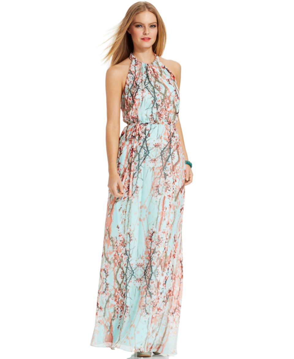 Jessica Simpson Floral Print Halter Maxi Dress   Dresses   Women