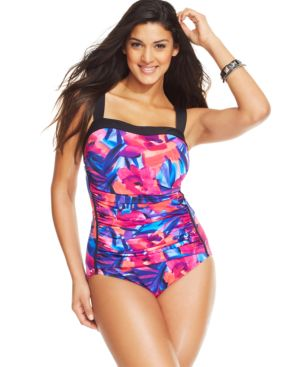 INC International Concepts Plus Size Floral-Print One-Piece Swimsuit Women's Swimsuit