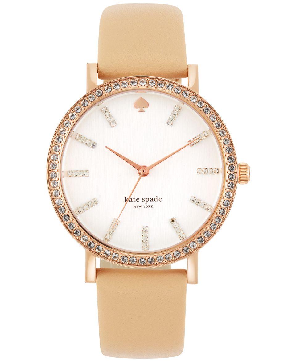 kate spade new york Watch, Womens Metro Pink Vachetta Leather Strap 34mm 1YRU0073   Watches   Jewelry & Watches