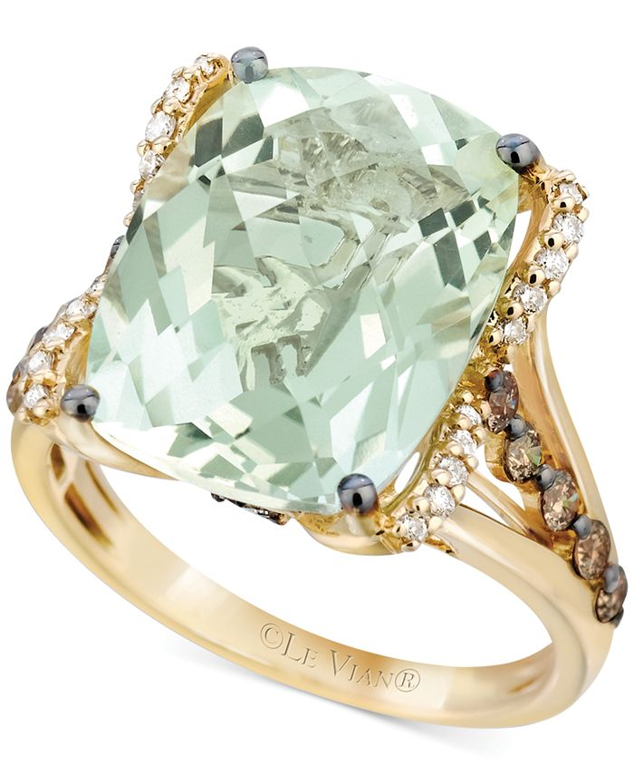 Le Vian - Prasiolite (9-3/4 ct. t.w.), White Diamond (1/8 ct. t.w.) and Chocolate Diamond (3/8 ct. t.w.) Ring in 14k Gold