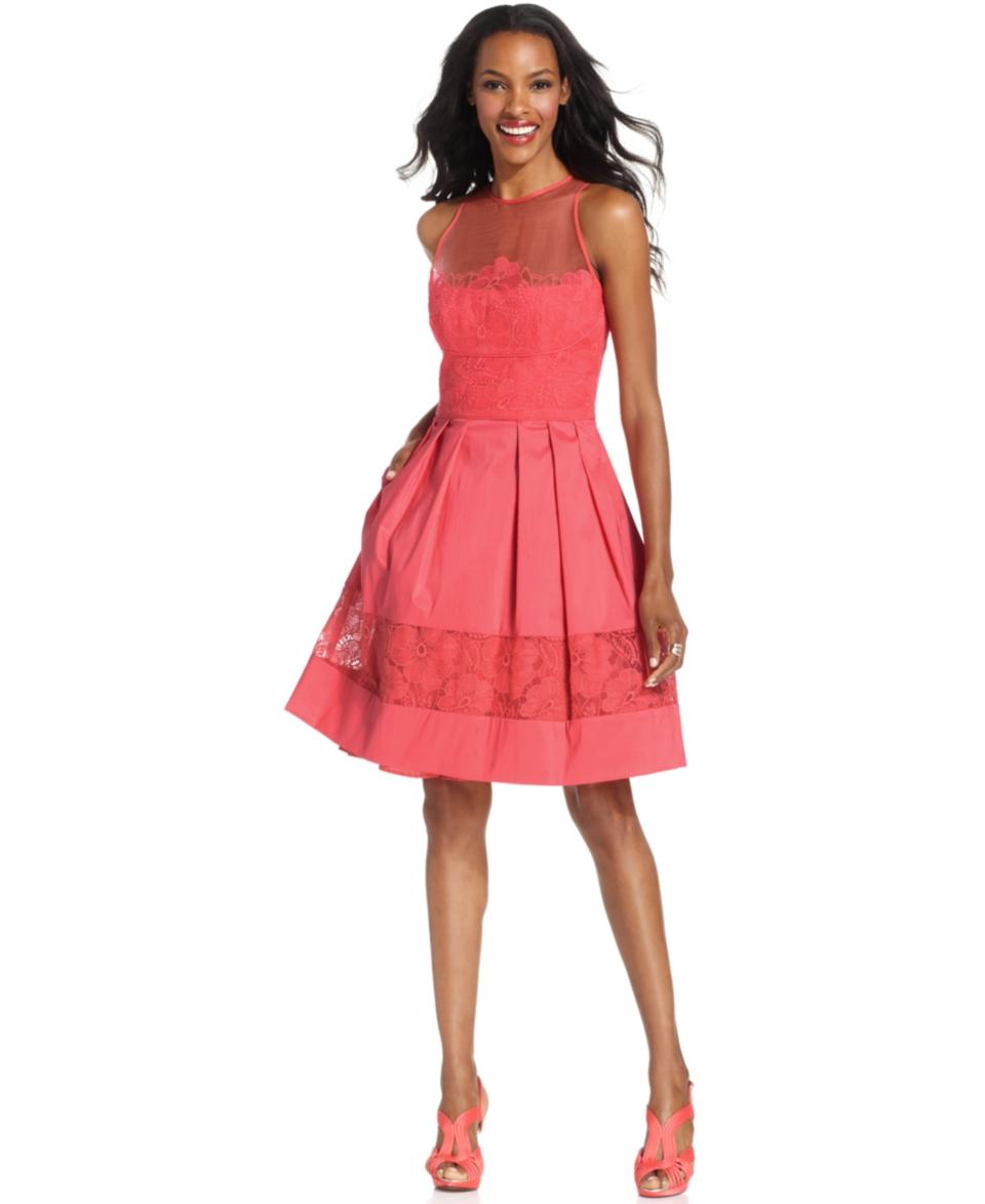 Maggy London Sleeveless Illusion Lace Dress   Dresses   Women