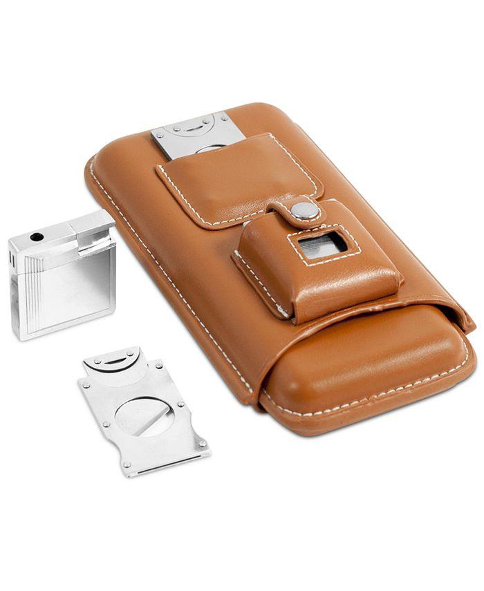 Bey-Berk - Leather Three Cigar Holder Set