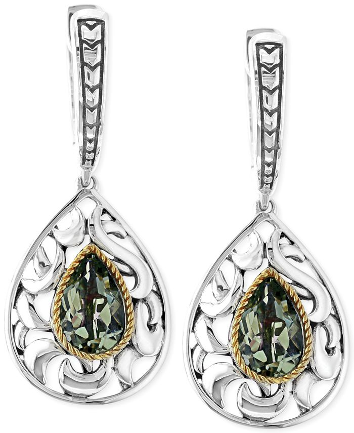 EFFY Collection - Green Quartz Pear Drop Earrings in Sterling Silver and 18k Gold (2-1/3 ct. t.w.)