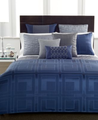 Hotel Collection Quadre Blue Queen Comforter