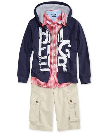 Tommy hilfiger boys 39 gingham shirt hoodie cargo shorts for Tommy hilfiger gingham dress shirt