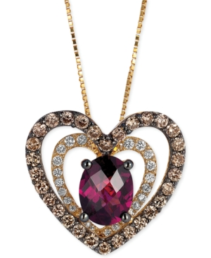 Le Vian Rhodolite (1 ct. t.w.) and Diamond (5/8 ct. t.w.) Heart Pendant Necklace in 14k Gold