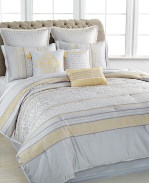 Closeout! Martha Stewart Collection Palace Scroll 9 Piece Queen Comforter Set Bedding