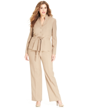 Le Suit Plus Size Stand-Collar Belted Pantsuit