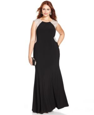 Xscape Plus Size Cap-Sleeve Jewel-Back Gown