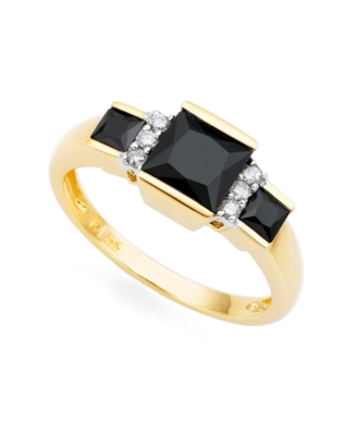 14k Gold Onyx & Diamond Ring (1/10 ct. t.w.)