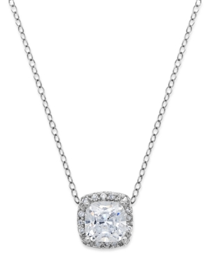 B. Brilliant - Cubic Zirconia Halo Pendant Necklace in Sterling Silver
