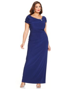 Xscape Plus Size Embellished Portrait-Collar Gown