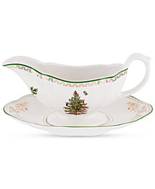 CLOSEOUT! Spode Christmas Tree Gold Sauce Boat and Stand