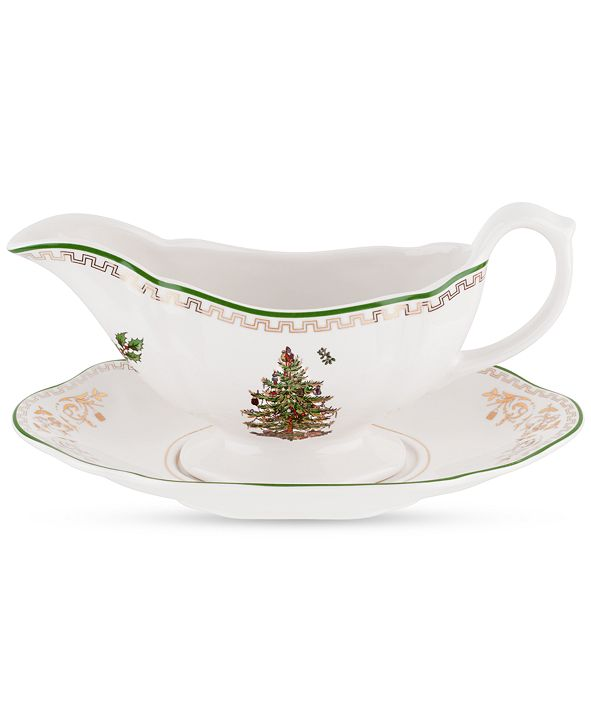 Spode CLOSEOUT! Christmas Tree Gold Sauce Boat and Stand