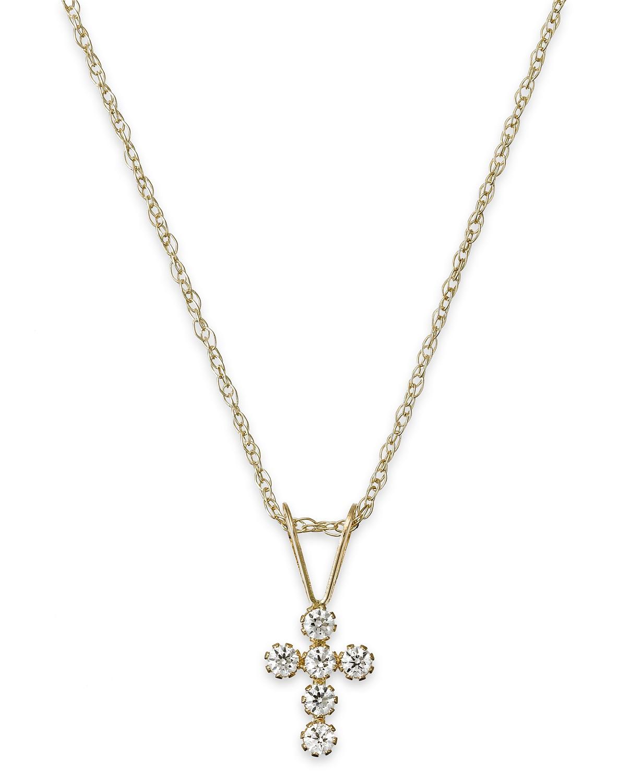 Children's Cubic Zirconia Cross Pendant Necklace in 14k Gold