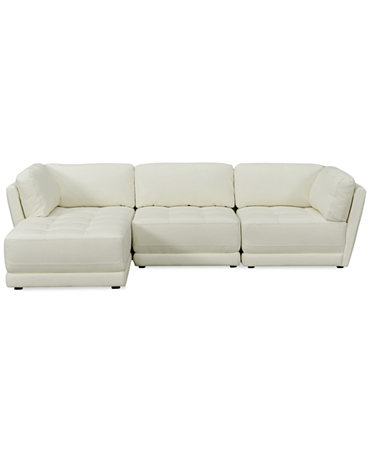 Traverso leather 3 piece chaise modular sectional sofa for 3 piece modular sectional sofa