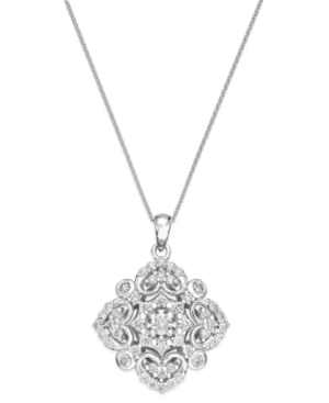 Wrapped in Love Diamond Vintage Pendant Necklace in 14k White Gold (1/2 ct. t.w.) plus size,  plus size fashion plus size appare