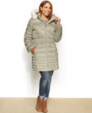 Laundry by Shelli Segal Plus Size Faux-Fur-Trim Down Puffer Coat