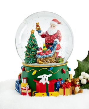 Holiday Lane Santa with Toy Filled Sack Snow Globe