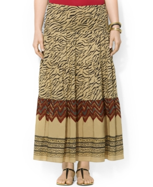Lauren Ralph Lauren Plus Size Mixed-Print Tiered Maxi Skirt