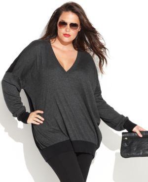 Michael Michael Kors Plus Size Long-Sleeve Colorblock Sweater
