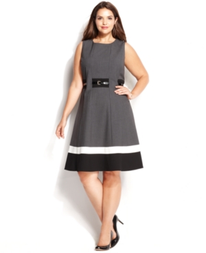 Calvin Klein Plus Size Colorblock Belted Dress