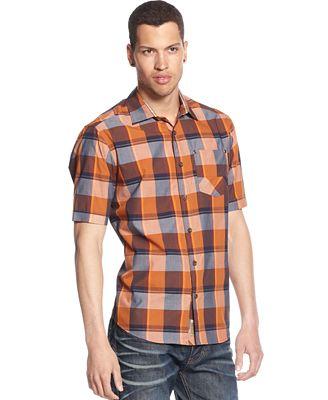Sean john big and tall dark checked shirt casual button for Big and tall button up shirts