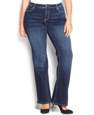 Inc International Concepts Plus Size Tummy-Control Bootcut Jeans, Medium Blue Wash