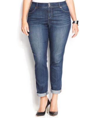 INC International Concepts Plus Size Tummy-Control Straight-Leg Jeans Stormy Wash