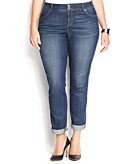 INC International Concepts Plus Size Tummy-Control Straight-Leg Jeans Stormy Wash