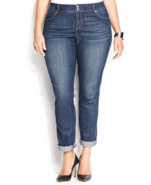 Inc International Concepts Plus Size Slim Tech Fit Straight-Leg Jeans, Stormy Wash
